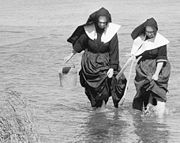 Nuns digging for clams in L.I. in 1957